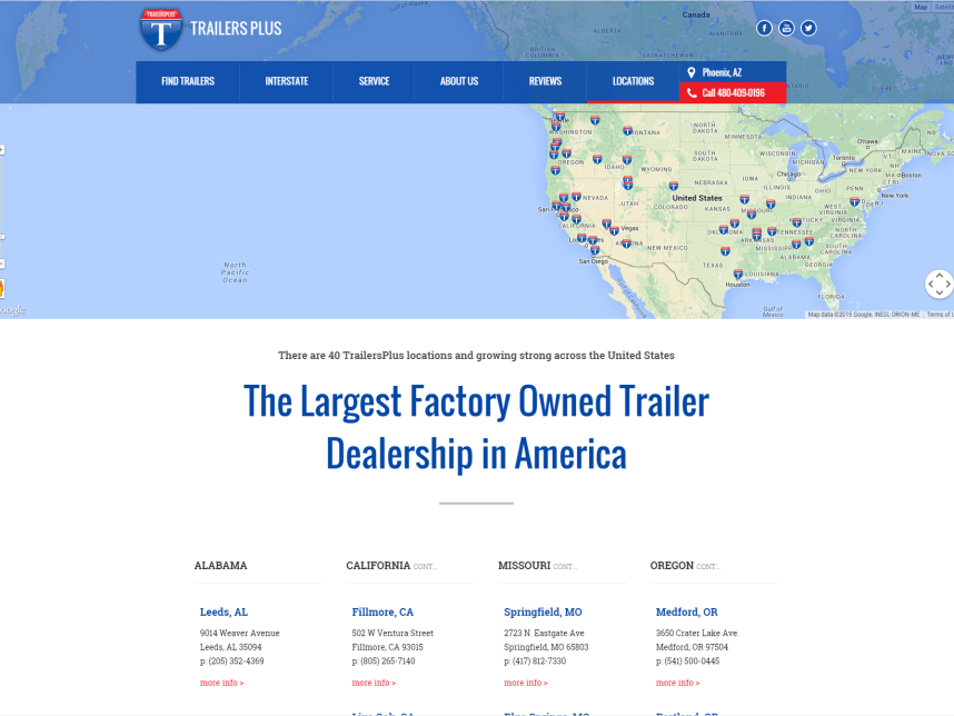Screenshot of the Trailers Plus website developed by 247 Labs