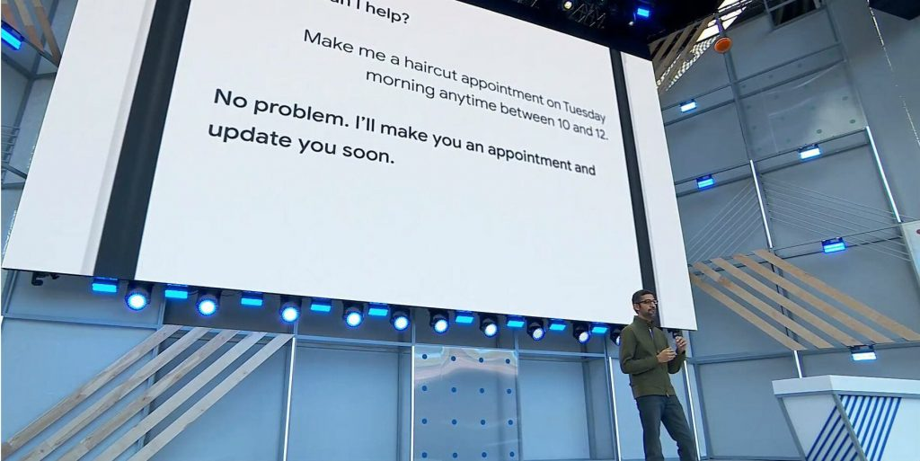 A snapshot of the Google AI Voice Assistant call made at Google I/O