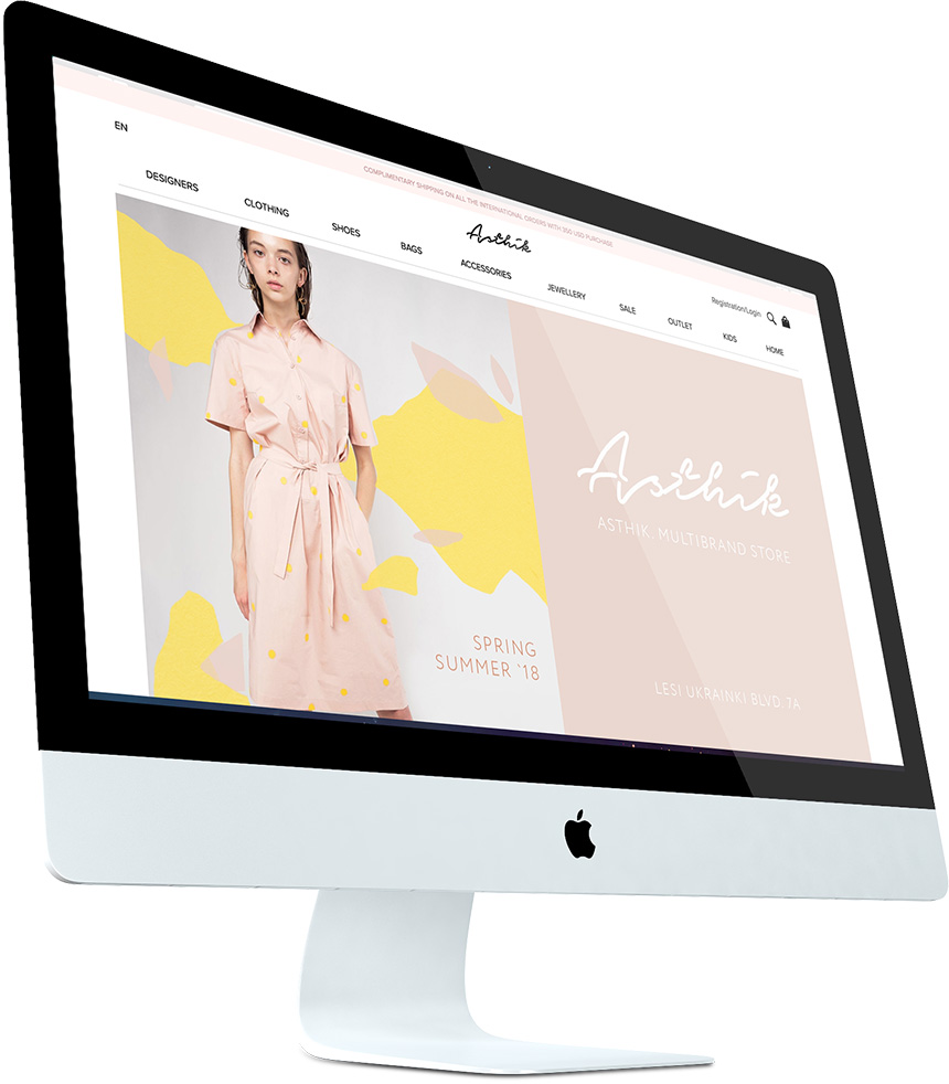 A screenshot of the Asthik ecommerce developed using Magento