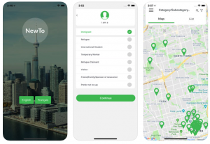 Screen shots of the New TO app to help new immigrants in Toronto