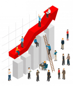 a ladder showing growth in the corporate world